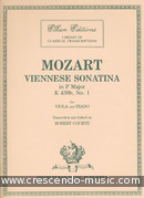 Viennese sonatina in F, KV.439b no.1. Mozart, Wolfgang Amadeus