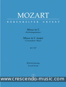Kronungsmesse in C, KV.317 (Vocal score). Mozart, Wolfgang Amadeus