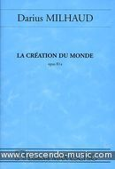 La creation du monde, Op.81a (Partition poche). Milhaud, Darius