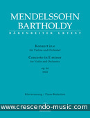 Concerto for Violin and Orchestra E minor, Op.64 (Early version - Piano reduction). Mendelssohn Bartholdy, Felix