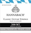 Snaren Classic serie 500 (medium tension 500MT). Hannabach