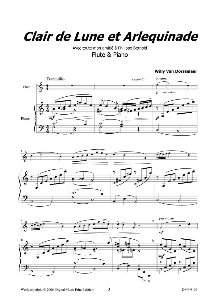 17d79b96dd94 Clair de lune et Arlequinade - Willy Van Dorsselaer - Instant Print -  Crescendo Music  Your number one expert in sheet music and musical  accessories ...
